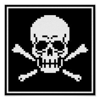 8-Bit Skull And Crossbones Pixel Art Poster