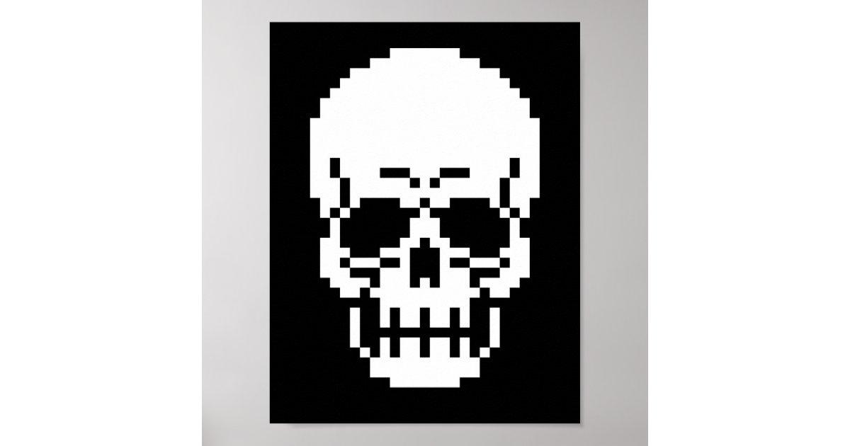 8 Bit Skull Pixel Art Poster