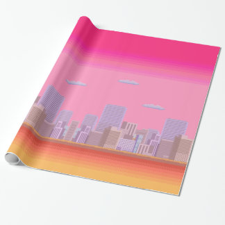 8-bit Skyline Wrapping Paper