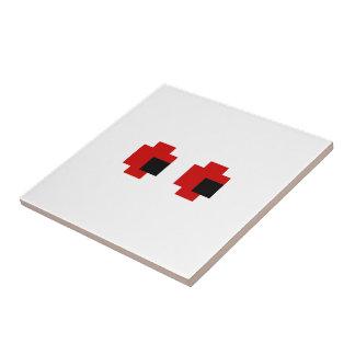 8 Bit Spooky Red Eyes Ceramic Tile