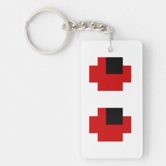 8 Bit Spooky Red Eyes Double-Sided Rectangular Acrylic Keychain