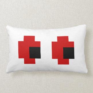 8 Bit Spooky Red Eyes Lumbar Pillow