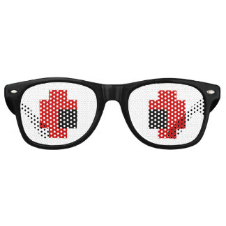 8 Bit Spooky Red Eyes Party Sunglasses