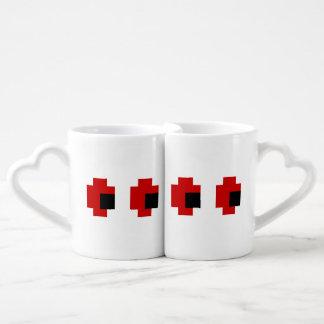 8 Bit Spooky Red Eyes Couples' Coffee Mug Set