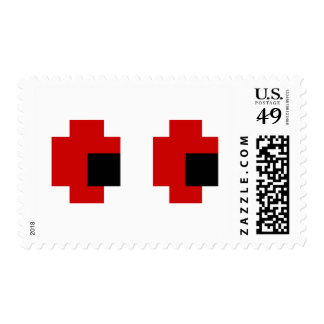 8 Bit Spooky Red Eyes Postage Stamps