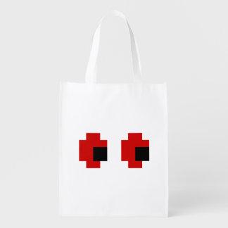 8 Bit Spooky Red Eyes Reusable Grocery Bag
