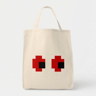 8 Bit Spooky Red Eyes Tote Bag