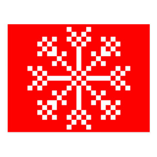 8 bit Video Game Snowflake Post Card