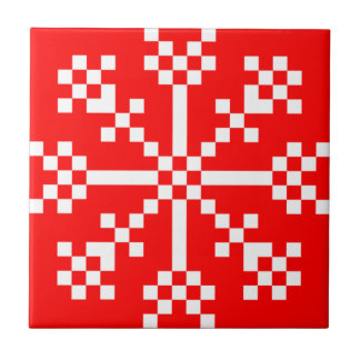 8 bit Video Game Snowflake Tile