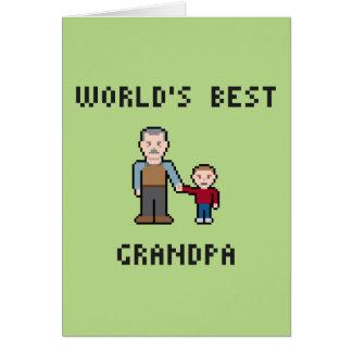 8 Bit World's Best Grandpa Greeting Card