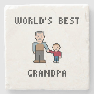 8 Bit World's Best Grandpa Marble Stone Coaster