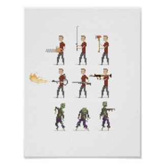 8-Bit Zombie Apocalypse Pixel Art Poster