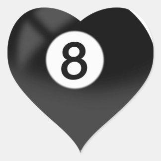 8 bola - billares pegatina en forma de corazón