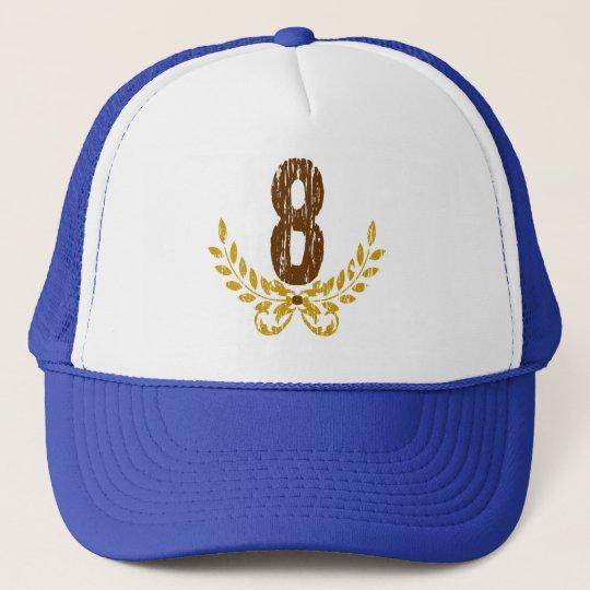 #8 Brown & Gold Wreath Trucker Hat