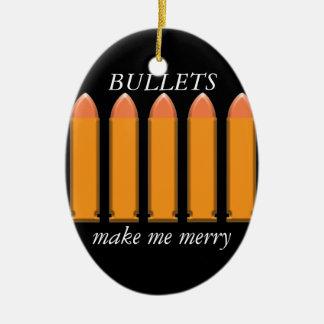 8 BULLETS on black background Ceramic Ornament