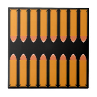 8 BULLETS on black background Ceramic Tile