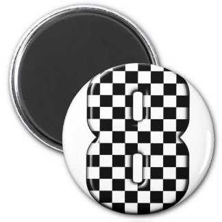 8 checkered auto racing number refrigerator magnet