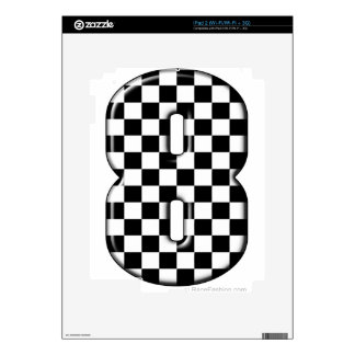 8 checkered auto racing number skin for the iPad 2