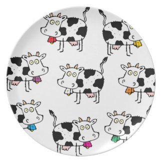 8 Cow Woman Party Plates