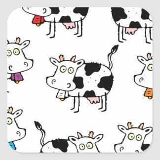 8 Cow Woman Square Stickers
