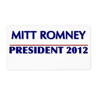 8 Custom Large Labels Per Sheet Mitt Romney