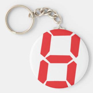 8 eight  red alarm clock digital number basic round button keychain
