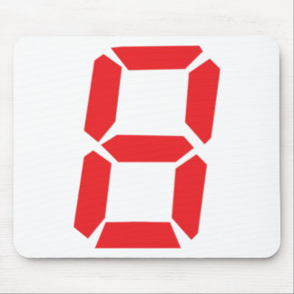 8 eight  red alarm clock digital number mouse mats