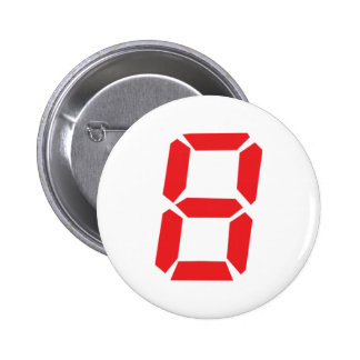 8 eight  red alarm clock digital number pinback button