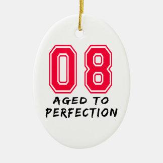8 envejeció al diseño del cumpleaños de la adorno ovalado de cerámica