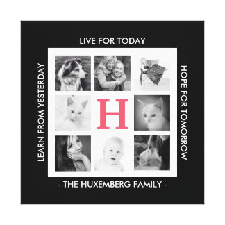 8 Family Photos Monogram and Inspirational Message Canvas Print