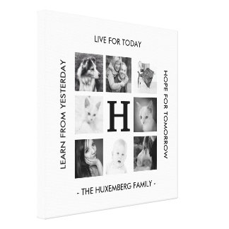 8 Family Photos Monogram and Inspirational Message Canvas Prints