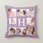 8 Family Photos with Jumbo Monogram Choose Color Pillow