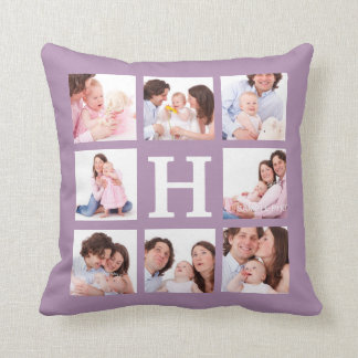 8 Family Photos with Jumbo Monogram Choose Color Throw Pillow