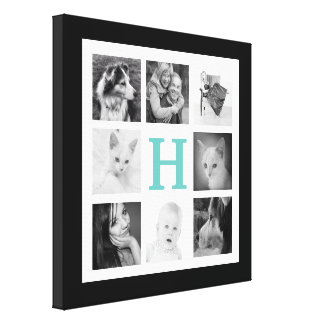 8 Family Photos with Large Monogram Initial Canvas Prints
