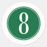 #8 Green Circle Sticker