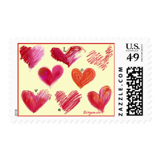 8 Hearts Love Postage Stamp
