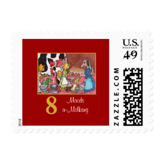 8 Maids a-Milking Cute Animals & Typography Postage