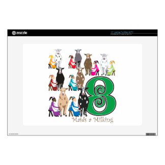 """8 Maids Milking Decals For 15"""" Laptops"""