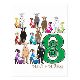 8 Maids Milking Postcard