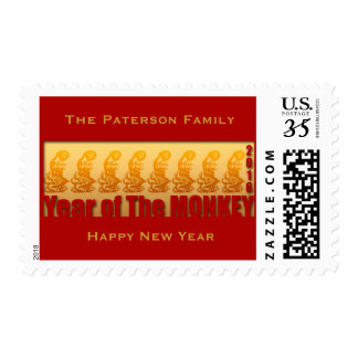 8 Monkeys Chinese New Year 2016 Personalized Stamp