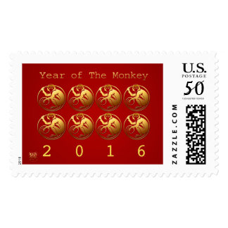 8 Monkeys Happy Chinese New Year 2016 Stamp