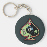 8 of Spades Basic Round Button Keychain