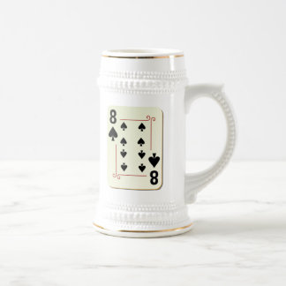 8 of Spades Playing Card Beer Stein