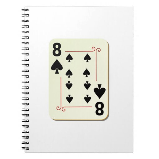 8 of Spades Playing Card Spiral Note Books