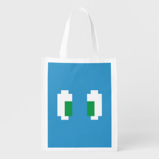 8 ojos verdes de Manga del pixel del pedazo Bolsa Reutilizable