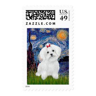 8 perrito maltés - noche estrellada sello