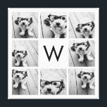 "8 Photo Collage Custom Monogram Black and White Canvas Print<br><div class=""desc"">You can use Instagram photos for this design. Use 8 square pictures to create a unique and personal gift. Or you can keep the hipster puppy and make a trendy keepsake. If you need to adjust the pictures,  click on the customize tool to make changes.</div>"