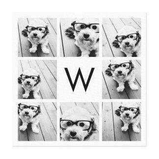 8 Photo Collage Custom Monogram Black and White Canvas Print