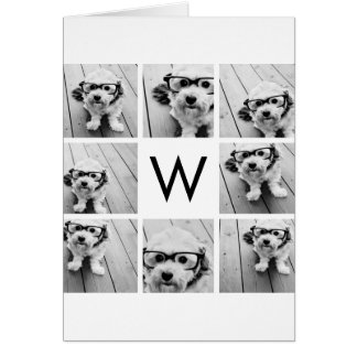 8 Photo Collage Custom Monogram Black and White Card
