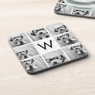8 Photo Collage Custom Monogram Black and White Drink Coaster